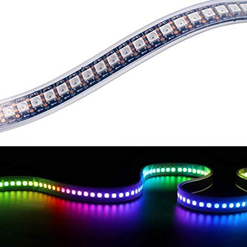 YUNBO WS2812B individualmente direccionable RGB LED Pixel tira luces 144 píxeles, 3.2FT/1M 5050 SMD 5V PCB negro flexible IP67 impermeable cortable Smart LED Iluminación