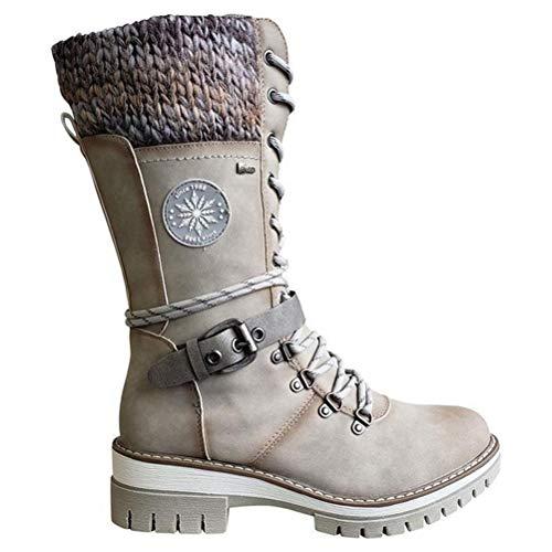 Katyma Botas femininas de inverno até o tornozelo, botas à prova d'água para uso ao ar livre, botas de cano médio, bico redondo, botas femininas