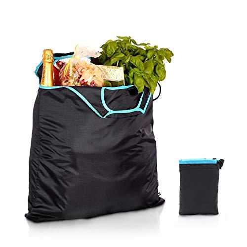 gripONE XXL Shopper Mint - große, Faltbare Einkaufstasche aus robuster und wasserabweisender Fallschirmseide inkl. Mini-Beutel zum Verstauen