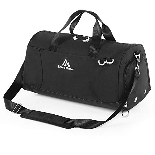 Brace Maste Gym Bag Sports Duffel Bag with Shoes Compartment and Wet Pocket Travel Gym Bag Black for Men and Women Black Size: 30L / Small