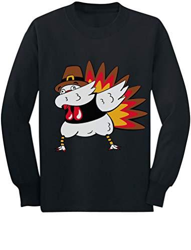 Tstars - Thanksgiving Funny Turkey Dab Dabbing Toddler/Kids Long Sleeve T-Shirt 5/6 Black