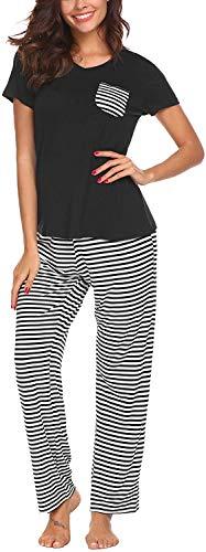 Pijama Mujer De 2 Piezas con Manga Corta Pantalon Largo Ropa De Dormir Algodón Nightwear Elegante Camisetas + Pantalones (Negro, L)