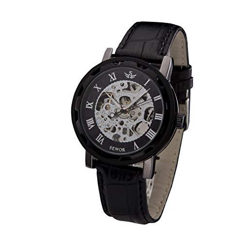 SEWOR - Reloj de Pulsera para Hombre, diseño de Esqueleto Hueco, para tallar, mecánico, con Cuero