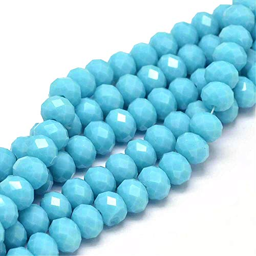 Semi-Precious Gemstone Turquoise Blue Jade Beads 15 Pieces 8 x 6 mm Rondelle Faceted Jewellery Beads Gemstone