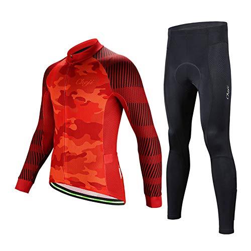 SXSHUN Maillot de Ciclismo de Hombres Conjunto de Camisa Manga Larga +...