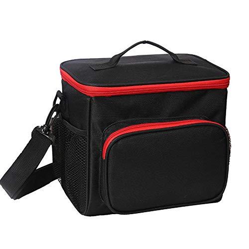 Couleur unie double couche Déjeuner Sac isothermiques nourriture pique-nique Sac portable épaule Boîte à lunch ToteMeal Container Box (Color : Black)