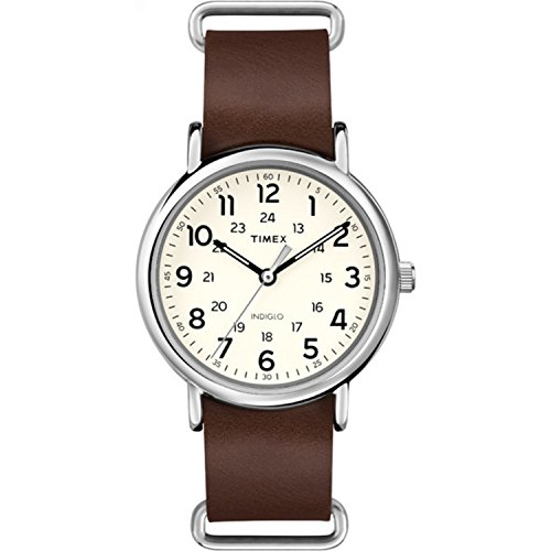 Timex Unisex T2P495 Weekender 40mm Brown Leather Slip-Thru Strap Watch