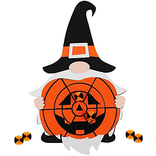 ANECO Halloween Dart Board Game Spliceable Gnome Style Dart Board Kit with 6 Halloween Pumpkin Sticky Balls for Halloween Party Games, Party Favor Supplies