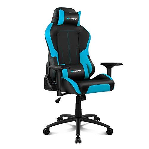 Drift DR250BL - Silla Gaming Profesional, polipiel, reposabrazos ajustable 4D, piston clase 4, asiento basculable, altura regulable, respaldo reclinable, cojines lumbar y cervical, color negro/azul