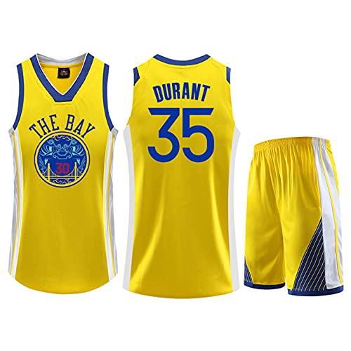 TWQ Camisetas de Baloncesto de la edición Conmemorativa, Golden State Warriors # 35 Kevin Durant Print Basketball Jerseys, Fresco Tela Transpirable Swing Swing sin Manga Yellow-L