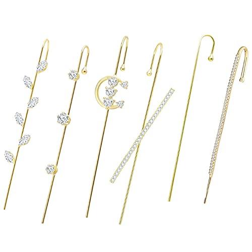 SHAOKAO Pendientes de aro con diseño de cristales elegantes con gancho de oruga, de acero inoxidable