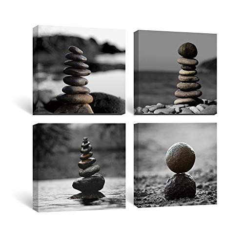 Gronda Zen Wall Art for Bathroom Spa Decor Meditation Canvas Painting Prints Zen Stones Artwork Pitures Ready to Hang for Spa Living Room Bedroom Office Home Decor 12x12 Inch, 4 Panels