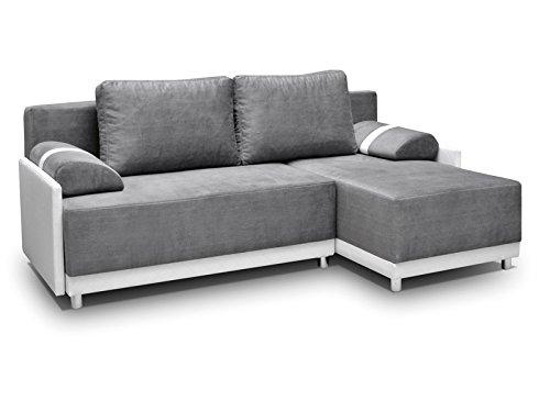 mb-moebel Ecksofa Sofa Eckcouch Couch mit Schlaffunktion und Bettkasten Ottomane L-Form Schlafsofa Bettsofa Polstergarnitur Indiana (Ecksofa Rechts, Hellgrau)