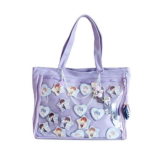 Ita Tote Bag Clear Window for Pins Ita Shoulder Bag Handbag Anime School Bag DIY, Cosplay, Comic Con, Purple
