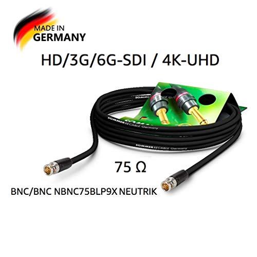 SOMMER CABLE - Koaxiales Videokabel mit BNC 75 Ω - HD/3G/6G-SDI / 4K-UHD SC-Vector 0.8/3.7 - BNC/BNC NBNC75BLP9X Neutrik - Schwarz (50m) - Made in Germany by