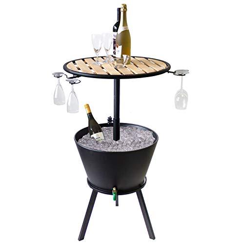 Bartisch mit Getränkekühler Metall Partytisch mit Holztischplatte Ø58x90cm - Campingtisch Grilltisch Beistelltisch