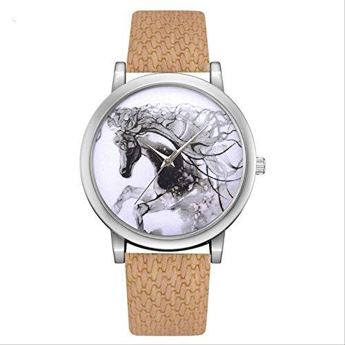 FNYM Damenuhr Pferd Zifferblatt Cartoon Leder Streifen Sport Kreative Uhr Mode UhrKaffee