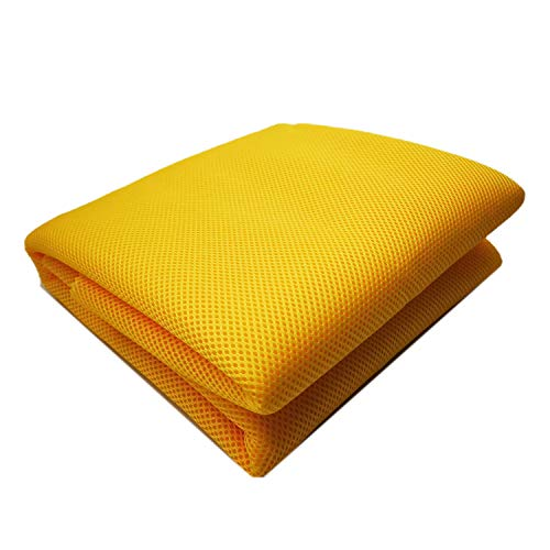 3D Air Spacer Sandwich Mesh Fabrics PET Hygrolon Heavy Seat Cover Soft Thick Breathable Sport Wear 155CM Wide 230G/M2 3MM (Yellow)