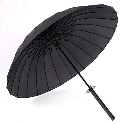 DACCU Stilvoller schwarzer japanischer Samurai Ninja Schwert Katana Regenschirm mit langem Griff, halbautomatisch, 8, 16 oder 24 Rippen 24K