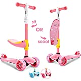 SUPER DADY 3 Wheel Scooter for Kids Toddlers with seat Foldable Kick Scooter