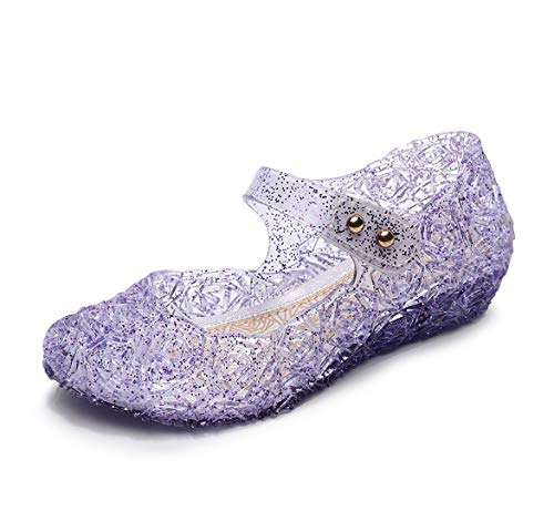 OMGard Toddler Girl Sandals Size 13, Little Kids Purple Cute Sparkle Jelly Fancy Dress Up Shoes for Party Dancing Cosplay Princess, LED Light Up Glitter Wedge High Heel, Closed Toe with Buckle