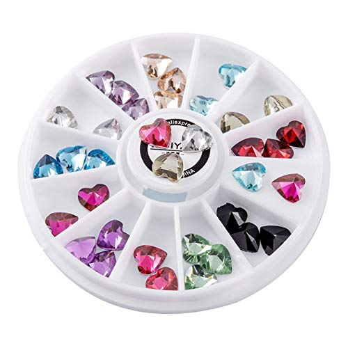 LNNUKc Adhesive Rhinestone Stickers Stick On Crystal Gem Sheets For Crafts Decoration Assorted Colors Square Round And Heart Shaped Transfer Adhesive Glitters DIY Decoration (Color : Multi-colored)