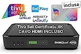 Decoder Ricevitore Tivù Sat Combo Digitale DVB-T2 Satellitare DVB-S2 Tivusat con scheda 4K HD UHD Tivusat inclusa Funzione PVR registrazione MAIN 10 HEVC H265 SCR e DCSS HbbTV On-demand rai e mediaset