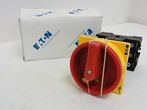 Moeller 095676 Interruptor principal, 3 polos, 32 A, función de parada de emergencia, bloqueable en la posición 0 (apagado), montaje trasero