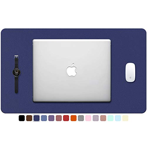 """TOWWI PU Leather Desk Pad with Suede Base, Multi-Color Non-Slip Mouse Pad, 24"""" x 14"""" Waterproof Desk Writing Mat, Large Desk Blotter Protector (Dark Blue)"""