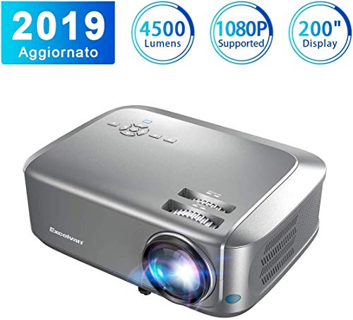 Proiettore Excelvan Videoproiettore 4500 Lumen 1080P/USB/VGA/SD/HDMI Risoluzione Nativa HD 1280*768P LCD Full HD 200'' Display Contrasto 1000:1 per Casa Viaggio Compatibile con PS4 TV Box Cellulare PC