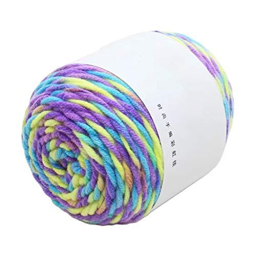 Goneryisour Hand 5 hebras de hilo de punto de algodón de color arcoíris – DIY hecho a mano bufanda/suéter/cojín/manta/hilo de ganchillo 45 g/bola