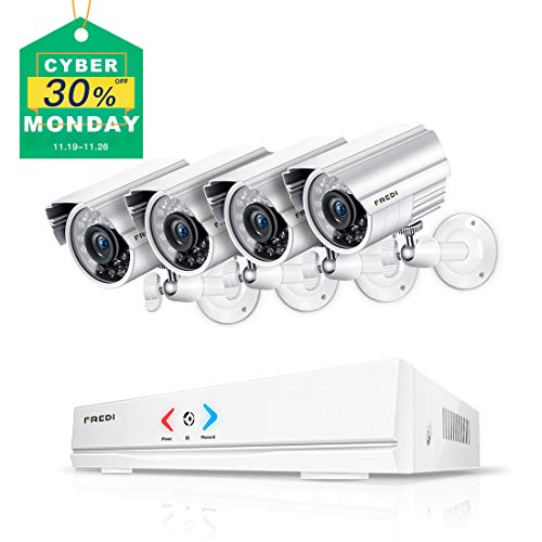 FREDI 4CH Security Camera System AHD 720P 1MP DVR Video Surveillance System with Indoor/Outdoor Bullet Camera and IR Night Vision/Motion Detection/Loop Video (Without Hard Drive)