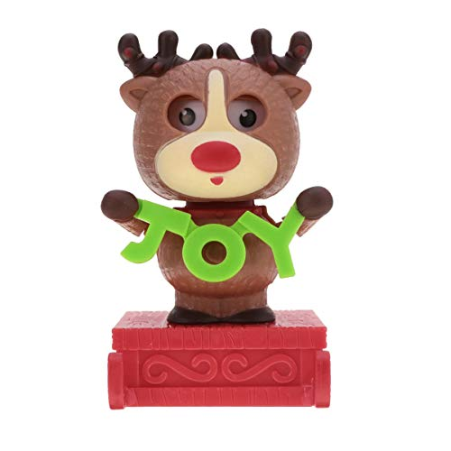 Amosfun Christmas Solar Bobble Shaking Head Dancing Toy Reindeer Figurines Statues Car Dash Board Decorations Christmas Party Favors Gifts Bags Filler