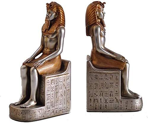 JDTBYMXX Vintage Decorative Bookends, Book Ends Bookends Book Shelves Decorative Book Shelf Man And Woman Reading Resin Bookend Set Egyptian Pharaoh Sculpture Book Ends