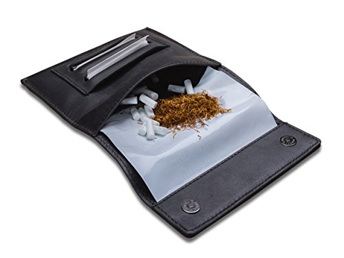 Indian Pearl Echtleder Tabaktasche mit extra Reißverschlußfach I Handgemachter Tabakbeutel I Drehertasche Leder, Tobacco Pouch, Drehbeutel, Drehtabak - Schwarz