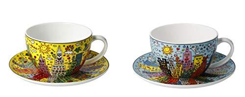 CREAFLOR HOME 2er Set James Rizzi Pop Art Tassen mit Untertasse 250ml blau + gelb Goebel
