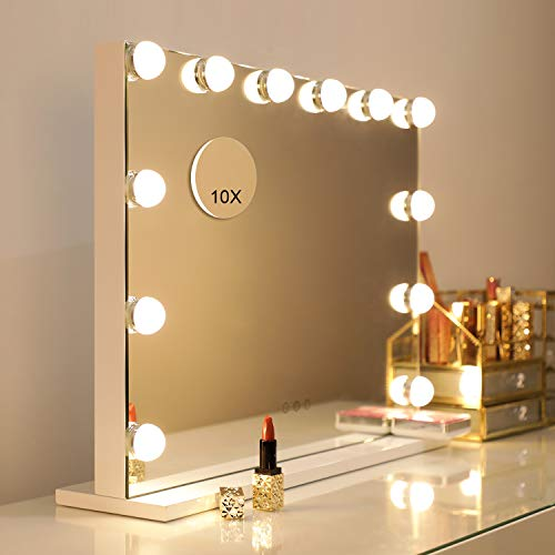 WAYKING Makeup Mirror with Lights, Hollywood Lighted Vanity Mirror with Touch Screen Dimmer, Tabletop or Wall-Mounted Mirror with USB Charging Port, Adjustable 3 Color Lighting (L22.83 x H17.32 inch)