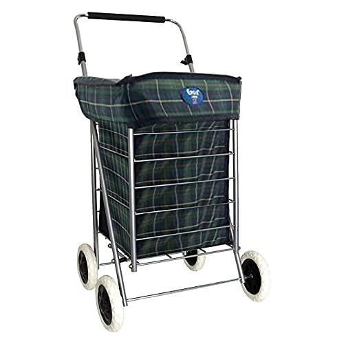 Einkaufstrolley mit 4 Rädern, zusammenklappbar, 60 l, leicht, mit Rollen, Grün