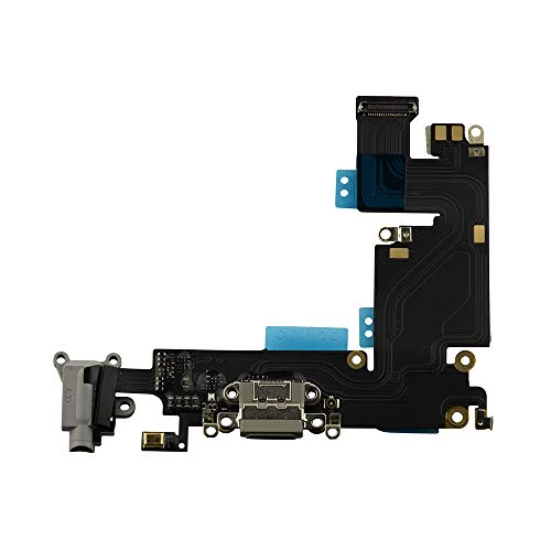 COHK USB Charging Port Dock Flex Cable with Microphone and Headphone Audio Jack Assembly Compatible with iPhone 6 Plus 5.5 inchs Grey