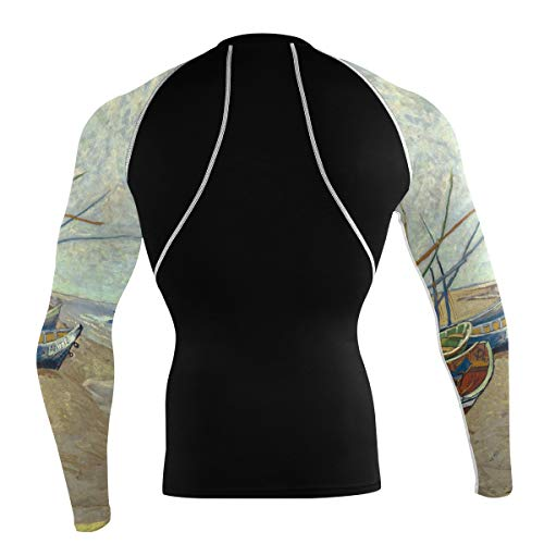 Fantazio Van Gogh Vissersboten T-shirt à manches longues pour vélo de montagne et vélo de route - - M
