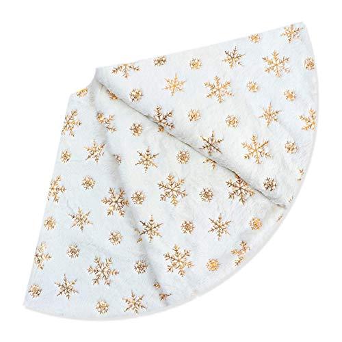 Deggodech 78cm Peluche Gonna Albero di Natale Bianca di Pelliccia con Oro Fiocchi di Neve Bianco Gonne per Alberi di Natale Copertura della Base per Decorazioni Natalizia (Oro, 78CM)