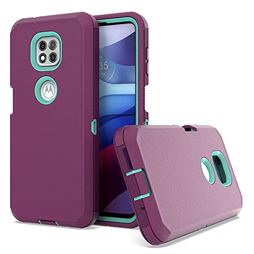 KWEICASE Cell Phone Case for Motorola Moto G Power 2021, Dual Layer Heavy Duty Military Grade Hybrid Case Anti-Drop Anti-Scratch Shockproof Protective Case, Purple & Teal