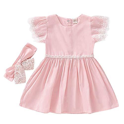 Janly Vendita di Liquidazione Ragazze Vestito per 0-10 Anni, Baby Kid Girl Toddler Soild Fly Sleeve Ruffle Partito Abiti+Hairband Vestiti, rosa, 3-4 anni
