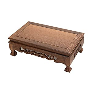 LuoLuo Chinese Display Stand Wooden Rectangle Shape Tiger Feet Carved Solid Rosewood JiChi Wood Display Base Holder for Arts Antique Etc, Home Decoration Rectangle-4