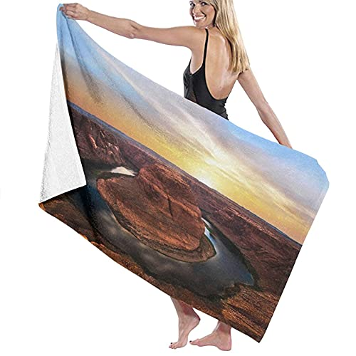 KAYLRR Toallas de baño,Canyon Horse Shoe Bend Arizona Sunset Water Cloud Horseshoe Sky Blue Yellow,Super Soft,High Absorbent,Large Towel Blanket for Bathroom,Beach or Swimming Pool,52' x 32'