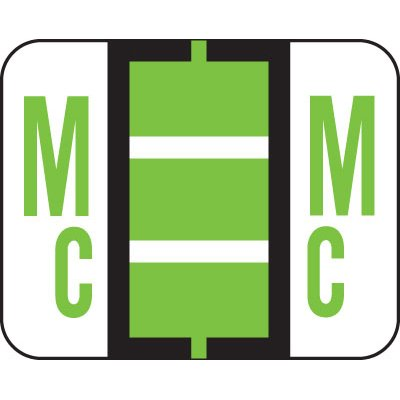 AMZfiling Alphabetic Color Coded Labels- Letter Mc, TAB Compatible, Green (Vinyl, 500/Roll)