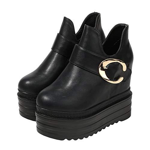 WZMNSGGX Schwarze Knöchel Damenschuhe Herbst Und Winter Wilde Kurze Stiefeletten Schwarze Frauen Große Schnalle Stiefel Kinderschuhe