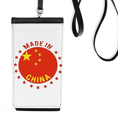 DIYthinker gemaakt in China nationaal embleem sterren rood geel chinese imitatie lederen smartphone opknoping portemonnee zwart telefoon portemonnee cadeau