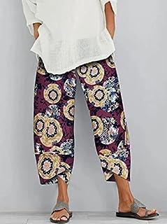 أزياء نسائية جديدة فضفاضة من القطن والكتان مطبوعة سروال فضفاض للسيدات سروال اقتصاص غير رسمي XXL وردةحمراء