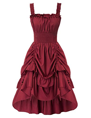 🍄FEATURE: This kind of gothic sleeveless dress with square neck, shoulder straps are adjustable, smocked waist & back top, with drawstring, A-Line silhouette 🍄This sleeveless vintage party prom dress makes you look more elegant and beautiful. It's ea...